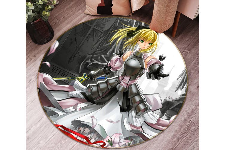 3D Fate stay night 536 Round Anime Non Slip Rug Mat, 200cm(78.7'')