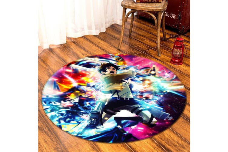 3D Attack On Titan 534 Round Anime Non Slip Rug Mat, 120cm(47.2'')