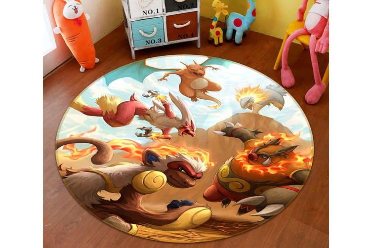 3D Pokemon 8264 Round Anime Non Slip Rug Mat, 120cm(47.2'')