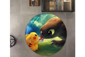 3D Pokemon 1652 Round Anime Non Slip Rug Mat, 60cm(23.6'')