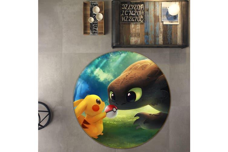 3D Pokemon 1652 Round Anime Non Slip Rug Mat, 120cm(47.2'')