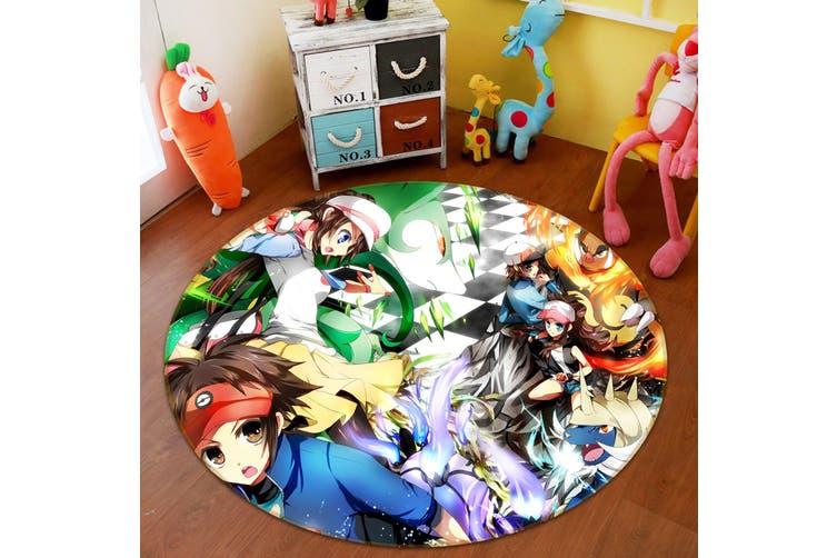 3D Pokemon 9892 Round Anime Non Slip Rug Mat, 100cm(39.4'')