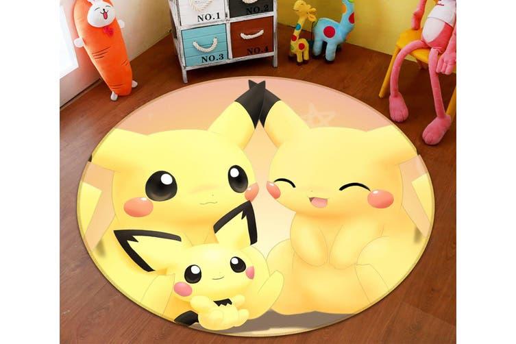 3D Pokemon 8932 Round Anime Non Slip Rug Mat, 100cm(39.4'')