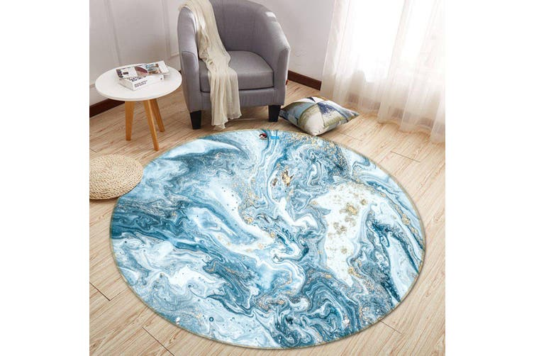 3D Light Blue Wave 150 Round Non Slip Rug Mat, 60cm(23.6'')