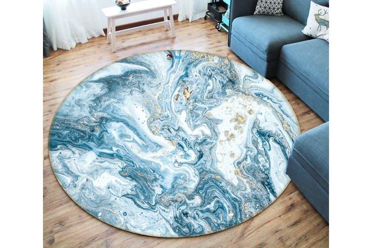 3D Light Blue Wave 150 Round Non Slip Rug Mat, 200cm(78.7'')