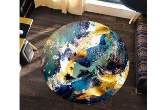 3D Blue Gold Texture 148 Round Non Slip Rug Mat, 200cm(78.7'')