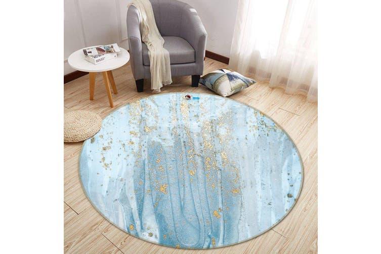 3D Apply Light Blue 146 Round Non Slip Rug Mat, 160cm(63'')