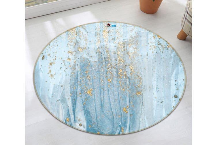 3D Apply Light Blue 146 Round Non Slip Rug Mat, 200cm(78.7'')
