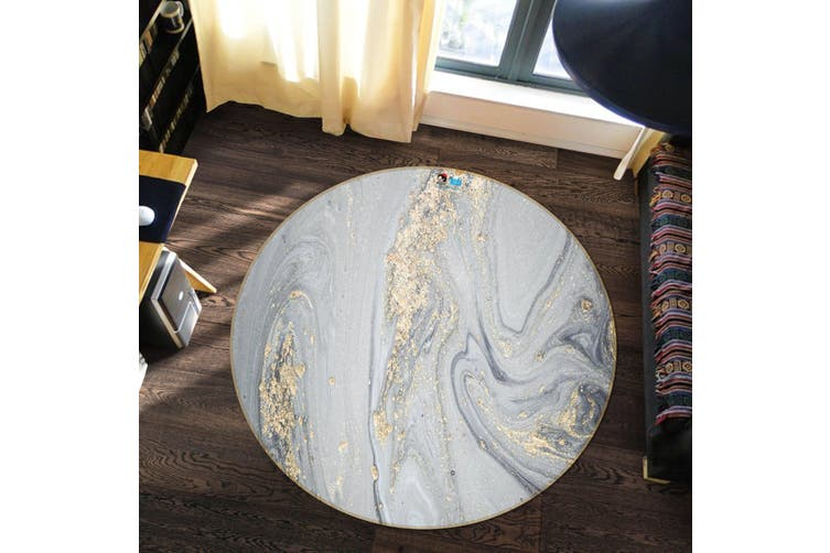 3D Silver Quicksand 145 Round Non Slip Rug Mat, 200cm(78.7'')