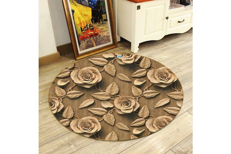 3D Mud Stereoscopic Flower 144 Round Non Slip Rug Mat, 200cm(78.7'')