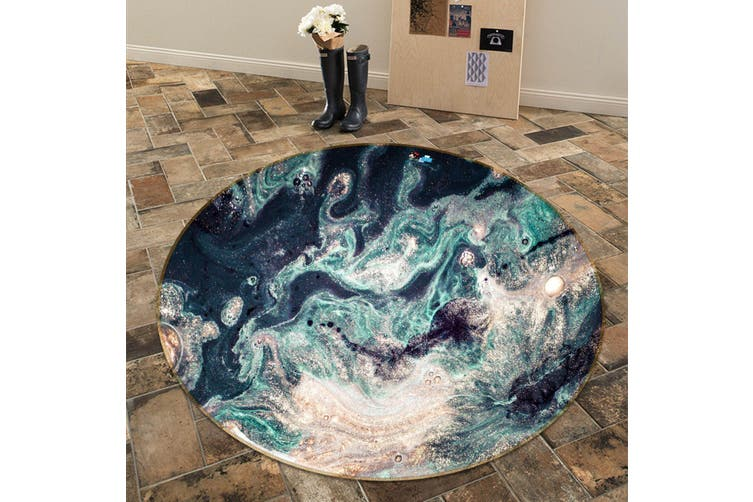 3D Green Wave Painting 143 Round Non Slip Rug Mat, 100cm(39.4'')