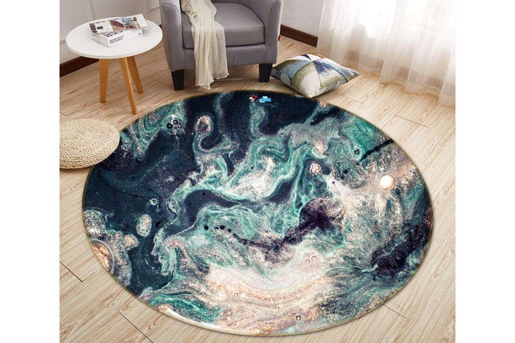 3D Green Wave Painting 143 Round Non Slip Rug Mat, 120cm(47.2'')