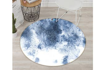 3D Light Blue Ink 142 Round Non Slip Rug Mat, 180cm(70.9'')