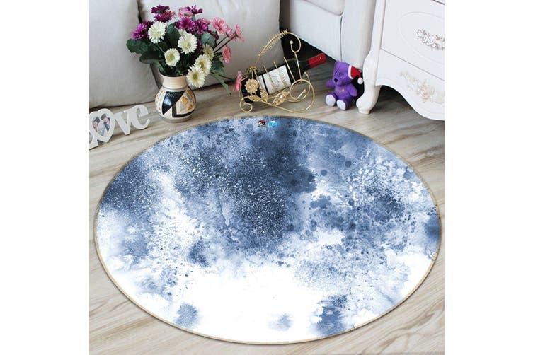 3D Light Blue Ink 142 Round Non Slip Rug Mat, 200cm(78.7'')