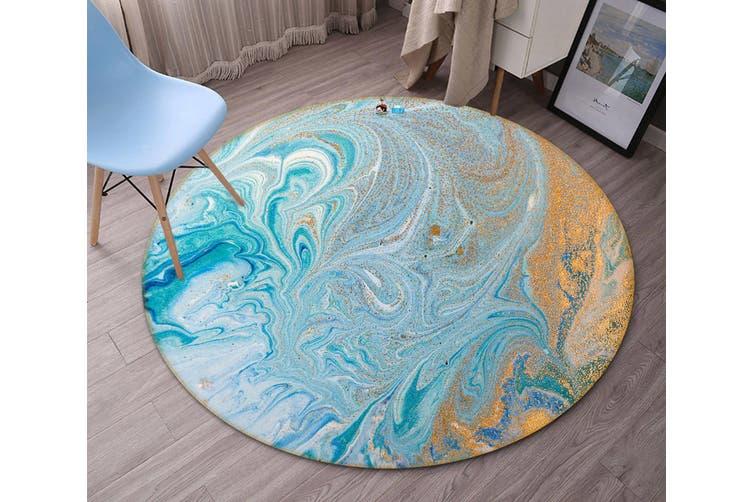 3D Light Blue Flow Pattern 141 Round Non Slip Rug Mat, 100cm(39.4'')