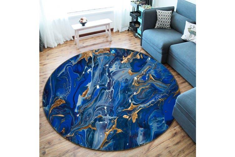 3D Blue Flowing Sand 140 Round Non Slip Rug Mat, 60cm(23.6'')