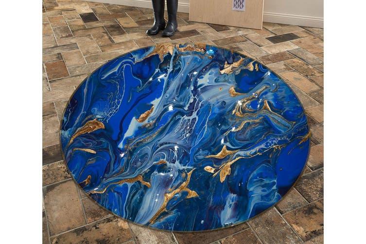 3D Blue Flowing Sand 140 Round Non Slip Rug Mat, 120cm(47.2'')