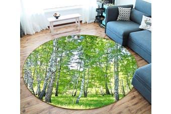 3D Bright Woods 355 Round Non Slip Rug Mat, 120cm(47.2'')