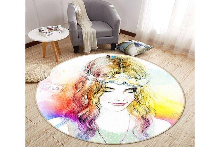 3D Graffiti Woman 353 Round Non Slip Rug Mat, 200cm(78.7'')
