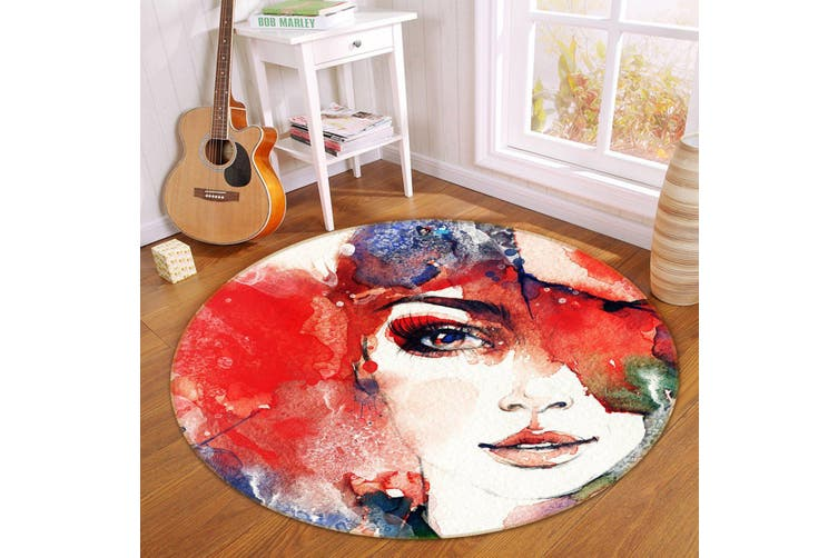 3D Oil Painting Woman 352 Round Non Slip Rug Mat, 100cm(39.4'')