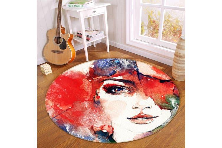 3D Oil Painting Woman 352 Round Non Slip Rug Mat, 120cm(47.2'')