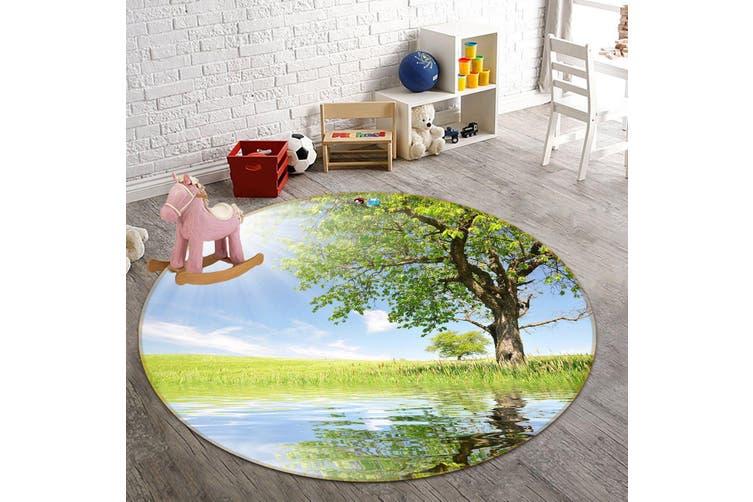 3D Sunshine Tree Reflection 349 Round Non Slip Rug Mat, 60cm(23.6'')