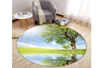 3D Sunshine Tree Reflection 349 Round Non Slip Rug Mat, 200cm(78.7'')