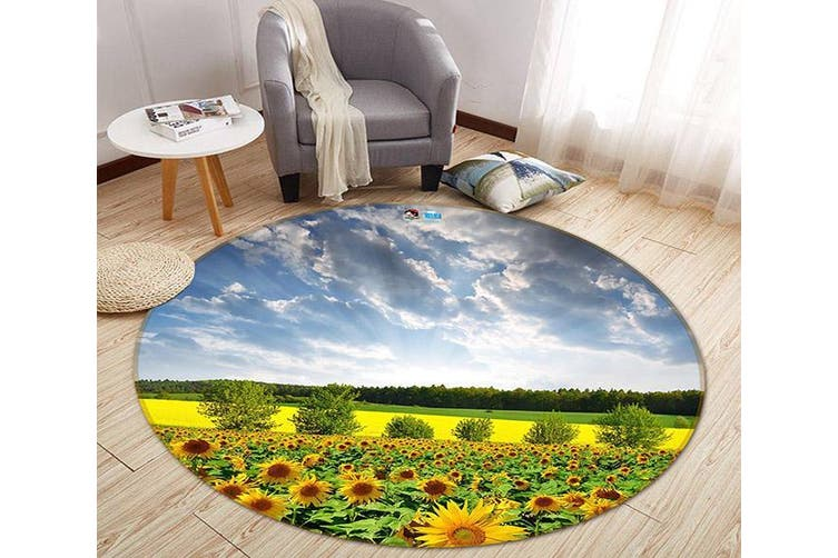 3D Sunflower Field 348 Round Non Slip Rug Mat, 60cm(23.6'')