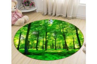 3D Grassland Forest 347 Round Non Slip Rug Mat, 200cm(78.7'')