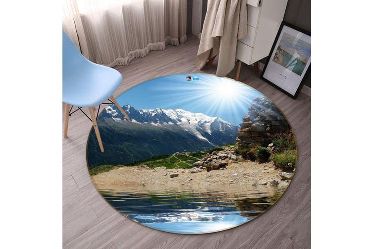 3D Sunny Snow Mountain 346 Round Non Slip Rug Mat, 120cm(47.2'')