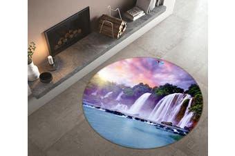 3D Powder Waterfall 345 Round Non Slip Rug Mat, 160cm(63'')