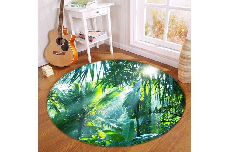 3D Sunshine Coconut Grove 343 Round Non Slip Rug Mat, 100cm(39.4'')