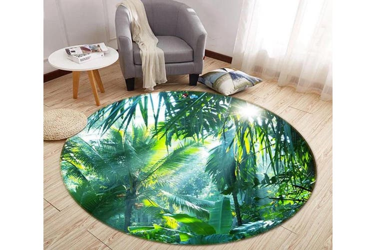 3D Sunshine Coconut Grove 343 Round Non Slip Rug Mat, 200cm(78.7'')