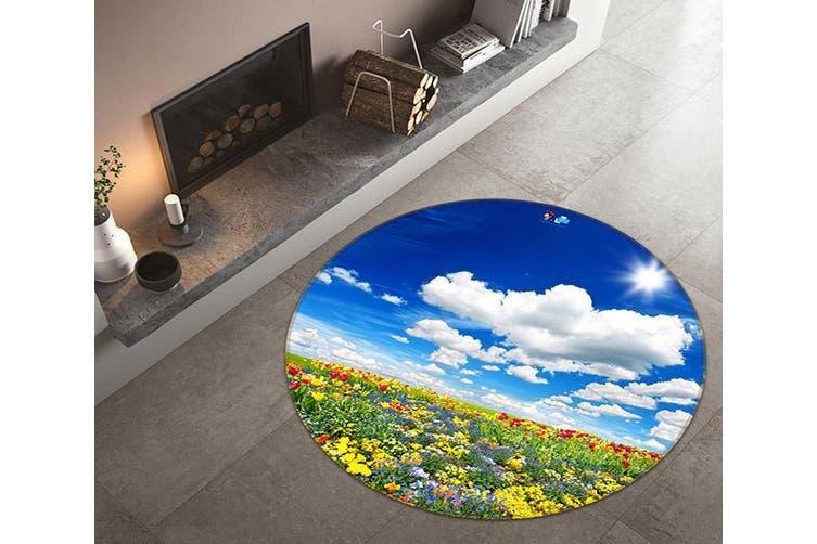 3D Flower Field 340 Round Non Slip Rug Mat, 60cm(23.6'')