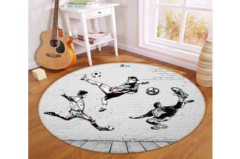 3D Play Football 337 Round Non Slip Rug Mat, 120cm(47.2'')