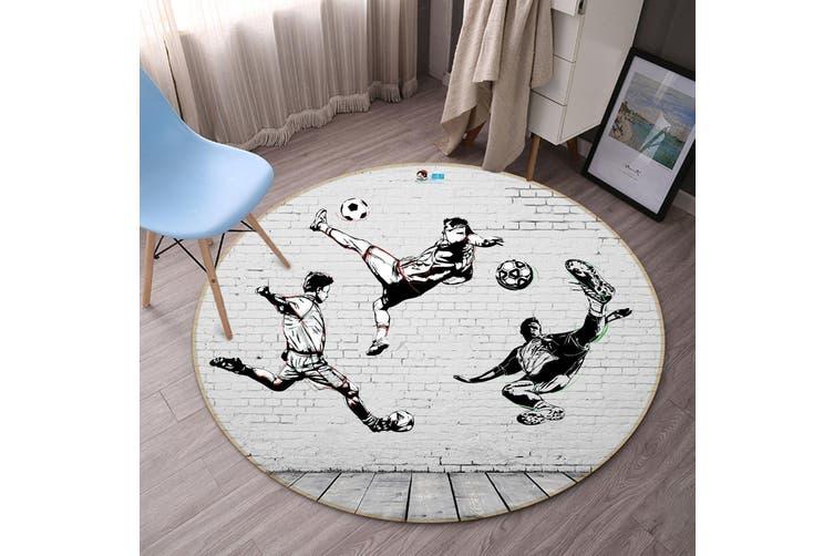 3D Play Football 337 Round Non Slip Rug Mat, 160cm(63'')