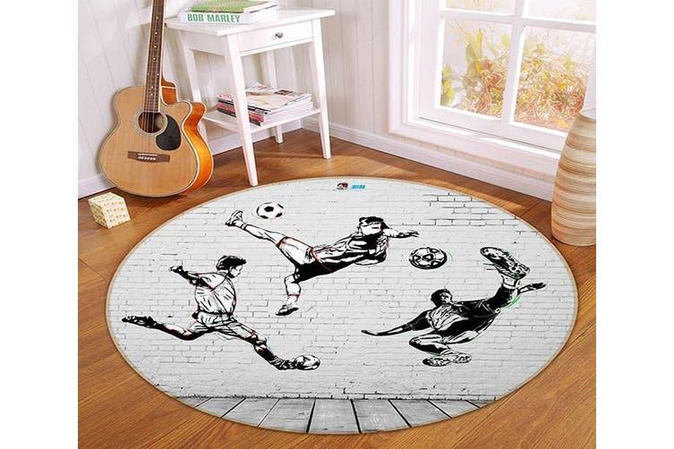 3D Play Football 337 Round Non Slip Rug Mat, 180cm(70.9'')
