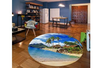 3D Grass House Coconut Tree 336 Round Non Slip Rug Mat, 60cm(23.6'')