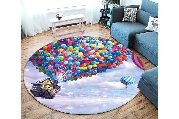 3D Balloon House 328 Round Non Slip Rug Mat, 120cm(47.2'')