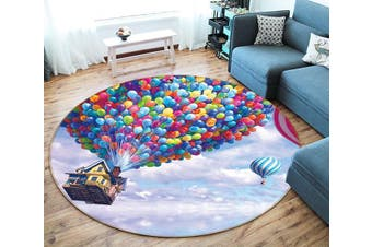 3D Balloon House 328 Round Non Slip Rug Mat, 200cm(78.7'')