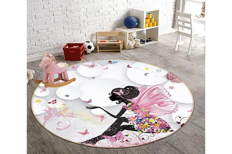 3D Wing Butterfly 325 Round Non Slip Rug Mat, 100cm(39.4'')
