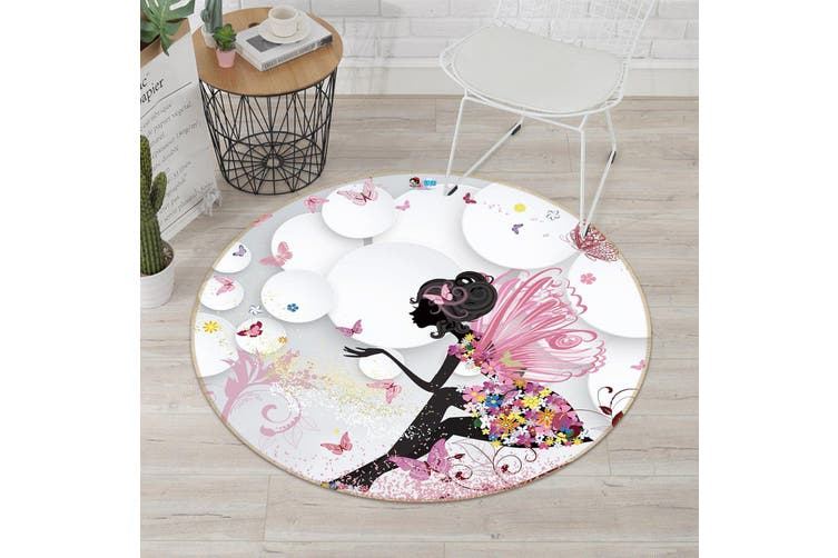 3D Wing Butterfly 325 Round Non Slip Rug Mat, 180cm(70.9'')