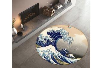 3D Graffiti Waves 322 Round Non Slip Rug Mat, 60cm(23.6'')
