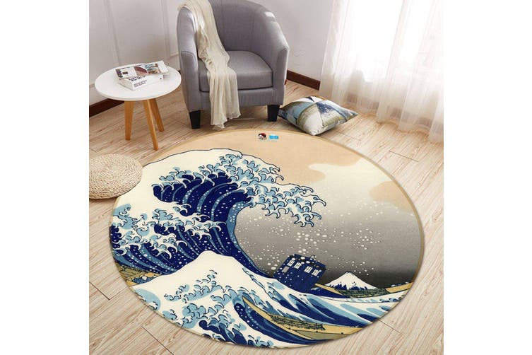 3D Graffiti Waves 322 Round Non Slip Rug Mat, 100cm(39.4'')