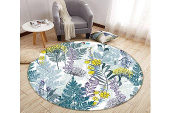3D Graffiti Yellow Flower 317 Round Non Slip Rug Mat, 120cm(47.2'')