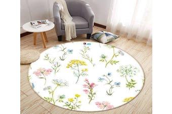 3D Small Yellow Flower 299 Round Non Slip Rug Mat, 160cm(63'')