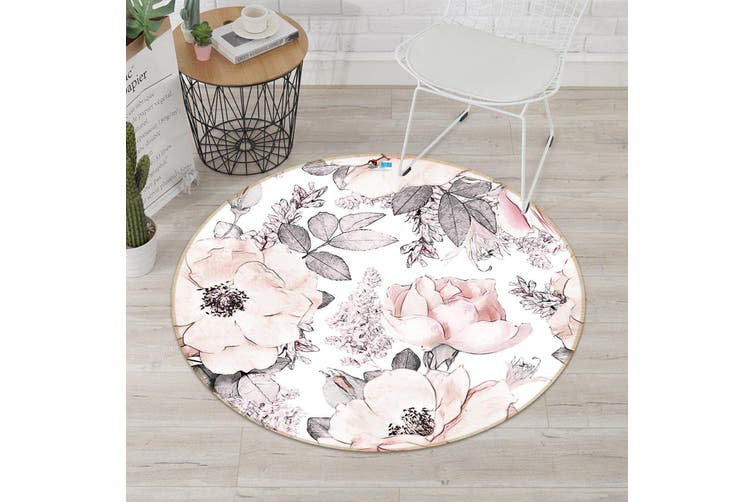 3D Graffiti Powder Flower 295 Round Non Slip Rug Mat, 120cm(47.2'')