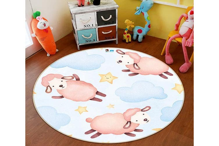 3D Powder Sheep 293 Round Non Slip Rug Mat, 160cm(63'')