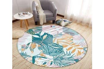3D Hexagonal Leaf Pattern 286 Round Non Slip Rug Mat, 60cm(23.6'')