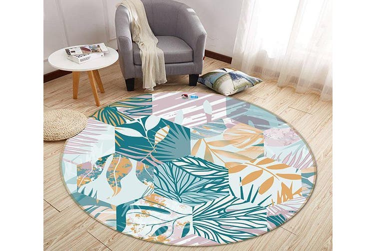 3D Hexagonal Leaf Pattern 286 Round Non Slip Rug Mat, 120cm(47.2'')